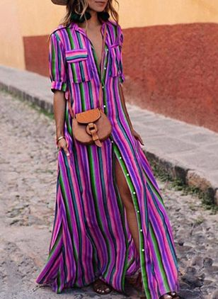 Casual Stripe Collar Maxi X-line Dress (4037502)