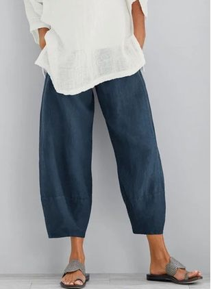 Casual Straight Pockets High Waist Cotton Blends Pants (1537436)