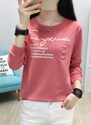 Alphabet Round Neck Long Sleeve Casual T-shirts