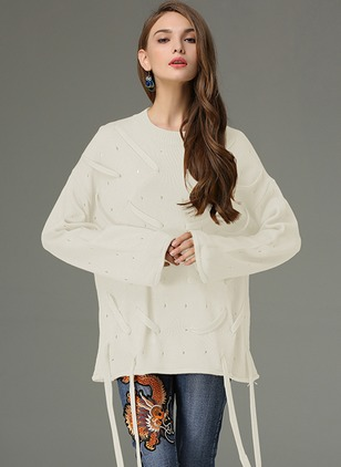 Acrylic Round Neckline Solid Casual Long Sweaters