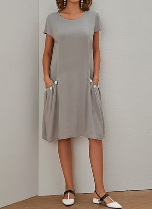 Casual Solid Round Neckline Above Knee Shift Dress (1347621)