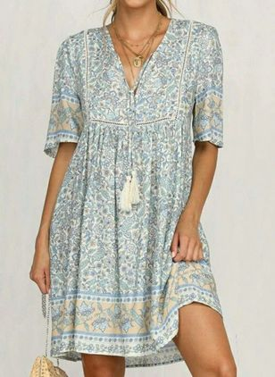 Casual Floral Tunic V-Neckline Shift Dress (146788498)