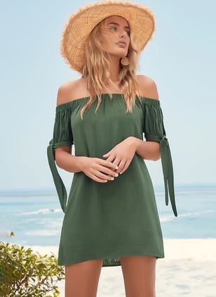 Solid Short Sleeve Above Knee Shift Dress