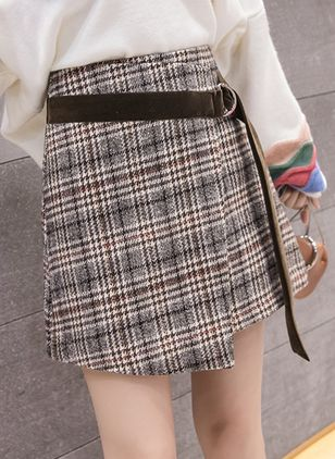Tartan Above Knee Casual Sashes Skirts