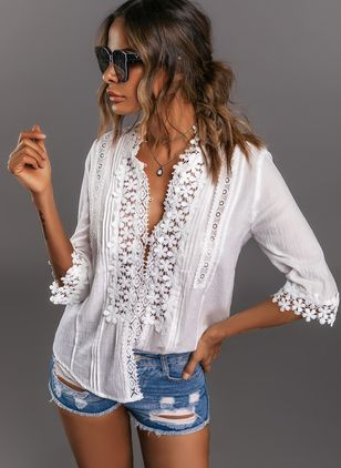 Solid Casual V-Neckline 3/4 Sleeves Blouses (101246737)