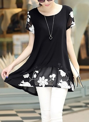 Floral Casual Round Neckline Short Sleeve Blouses