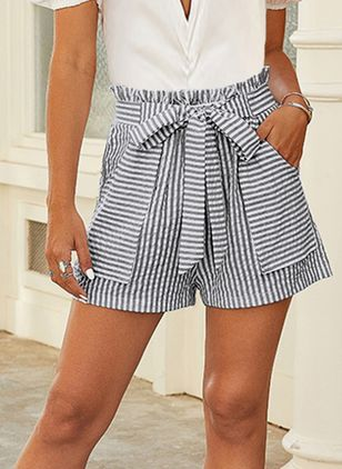 Casual Straight High Waist Cotton Shorts (146994548)