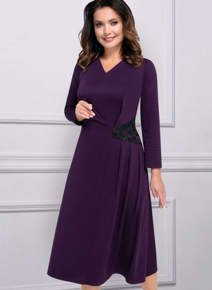 Casual Solid V-Neckline Midi X-line Dress (107562330)