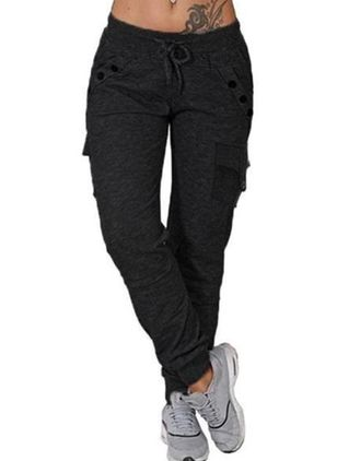 Casual Loose Buttons Pockets Mid Waist Polyester Pants (146681588)