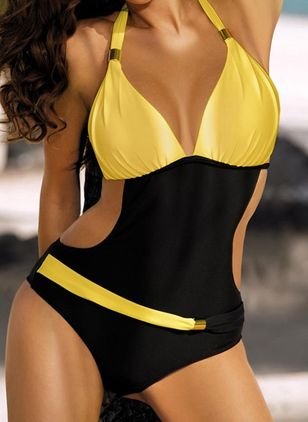 Polyester Halter Color Block One-piece Swimwear (1532770)