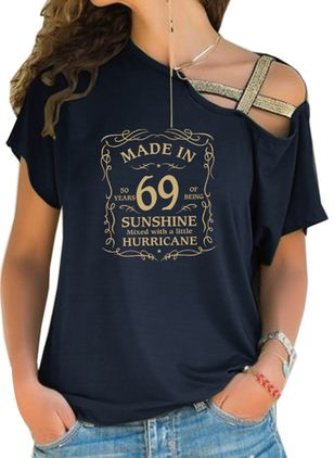 Alphabet Oblique Neckline Short Sleeve Casual T-shirts (4864505)