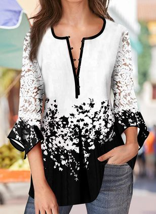 Floral Casual Round Neckline 3/4 Sleeves Blouses (100038230)
