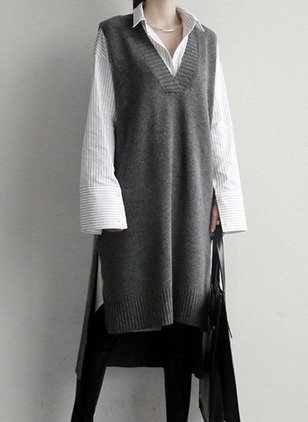 V-Neckline Solid Loose Long None Sweaters