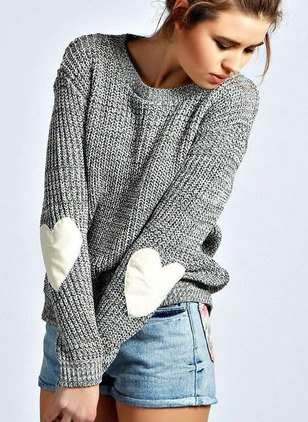 Polyester Round Neckline Color Block Casual Loose Sweaters
