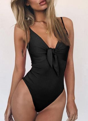 Polyester Solid Knotted One-piece Swimwear (4228944)