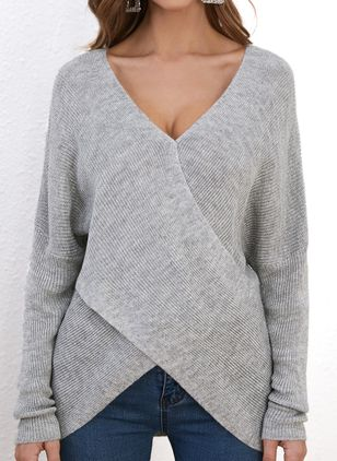 V-Neckline Solid Casual Asymmetrical Shift Sweaters (1347996)