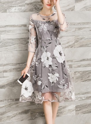 Floral Lace 3/4 Sleeves Knee-Length A-line Dress
