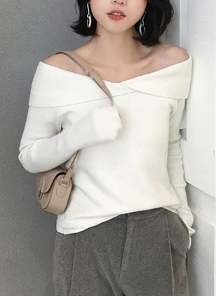 Cotton Strapless Neckline Solid Loose None Sweaters