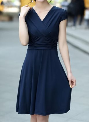 Solid Short Sleeve Knee-Length A-line Dress