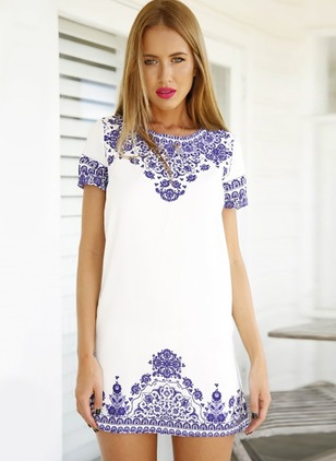 Polyester Floral Short Sleeve Above Knee Dresses