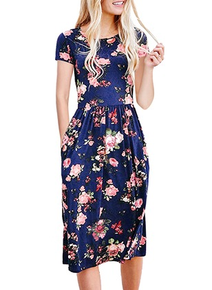 Floral Pockets Short Sleeve Knee-Length A-line Dress
