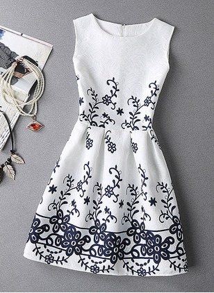 Floral Embroidery Skater Sleeveless A-line Dress