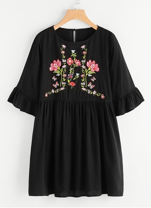 Floral Embroidery Half Sleeve Shift Dress