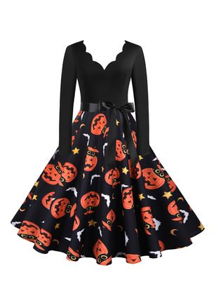 Halloween Color Block V-Neckline Midi X-line Dress (109973481)