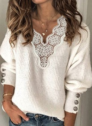 V-Neckline Solid Casual Loose Regular Lace Buttons Sweaters (100037882)