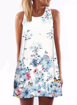 Polyester Floral Sleeveless Above Knee Dresses