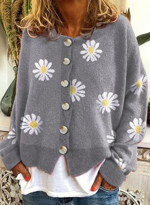 Round Neckline Floral Casual Regular Buttons Sweaters (112602084)