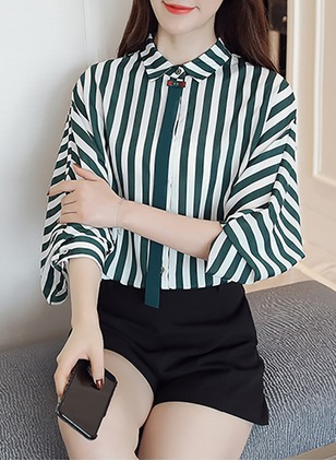 Stripe Casual Polyester Collar 3/4 Sleeves Blouses