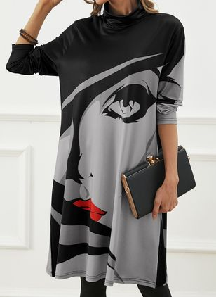 Casual Character Tunic High Neckline A-line Dress (146783404)