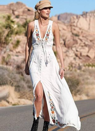 Floral Camisole Neckline Sleeveless Maxi X-line Dress