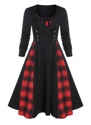 Casual Plaid V-Neckline Midi A-line Dress (146655620)