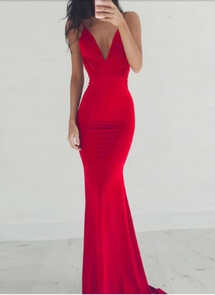 Ruffles Pencil Sleeveless Maxi Bodycon Dress