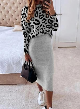 Elegant Leopard Pencil Round Neckline Bodycon Dress (146833839)