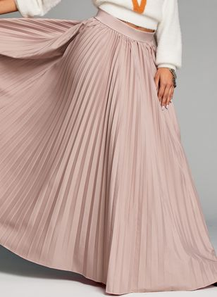 Solid Maxi Casual Skirts (1422235)