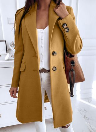 Long Sleeve Buttons Trench Coats (106587184)
