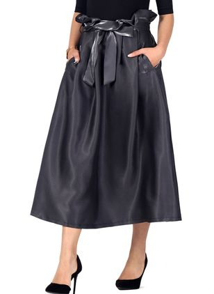 Solid Mid-Calf Elegant Ruffles Pockets Sashes Skirts (4042970)