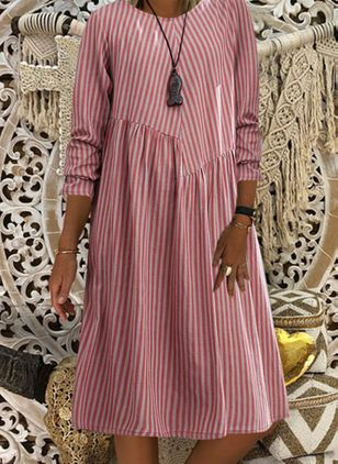 Casual Stripe Tunic Round Neckline Shift Dress (107520711)