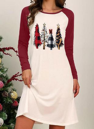 Christmas Color Block Round Neckline Above Knee X-line Dress (128229636)