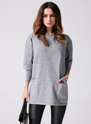Cotton Solid 3/4 Sleeves Shift Dress
