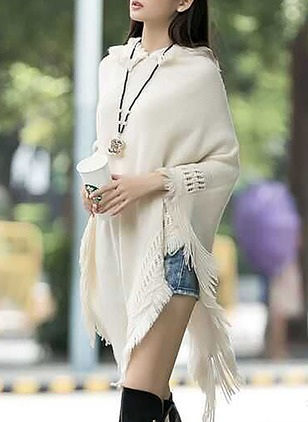 Polyester Others Solid Cape Tassel Ruffles Sweaters