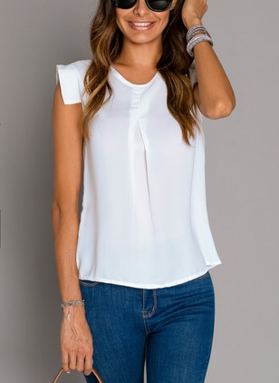 Solid Casual Round Neckline Cap Sleeve Blouses