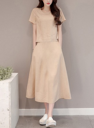 Solid Drop waist Short Sleeve Midi A-line Dress