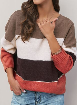 Round Neckline Stripe Casual Regular Shift Sweaters (1398862)