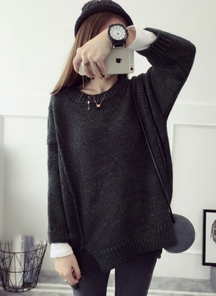 Mohair Round Neckline Solid Loose None Sweaters