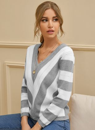 V-Neckline Color Block Casual Loose Regular Shift Sweaters (107423181)