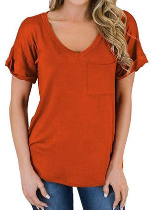 Solid V-Neckline Short Sleeve Casual T-shirts (4229297)
